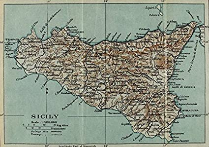 photograph relating to Printable Map of Sicily titled : Wall Artwork Print Enled Classic Map of Sicily