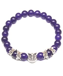 Weelovee Women Mens Inner Peace Heart Healing Amethyst Stone Bracelet 8MM Energy Beads Purple Gemstone (Silver Owl) …