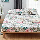 Fitted Sheet Bedsheet Plus Two Pillowcases Used for Bedding Duvet Cover Set Microfiber MJ Twin Full Single Double Bed Fresh Flower Print Design for Kids 3pcs (Dance Flower, Pink, Queen 70''x79'')