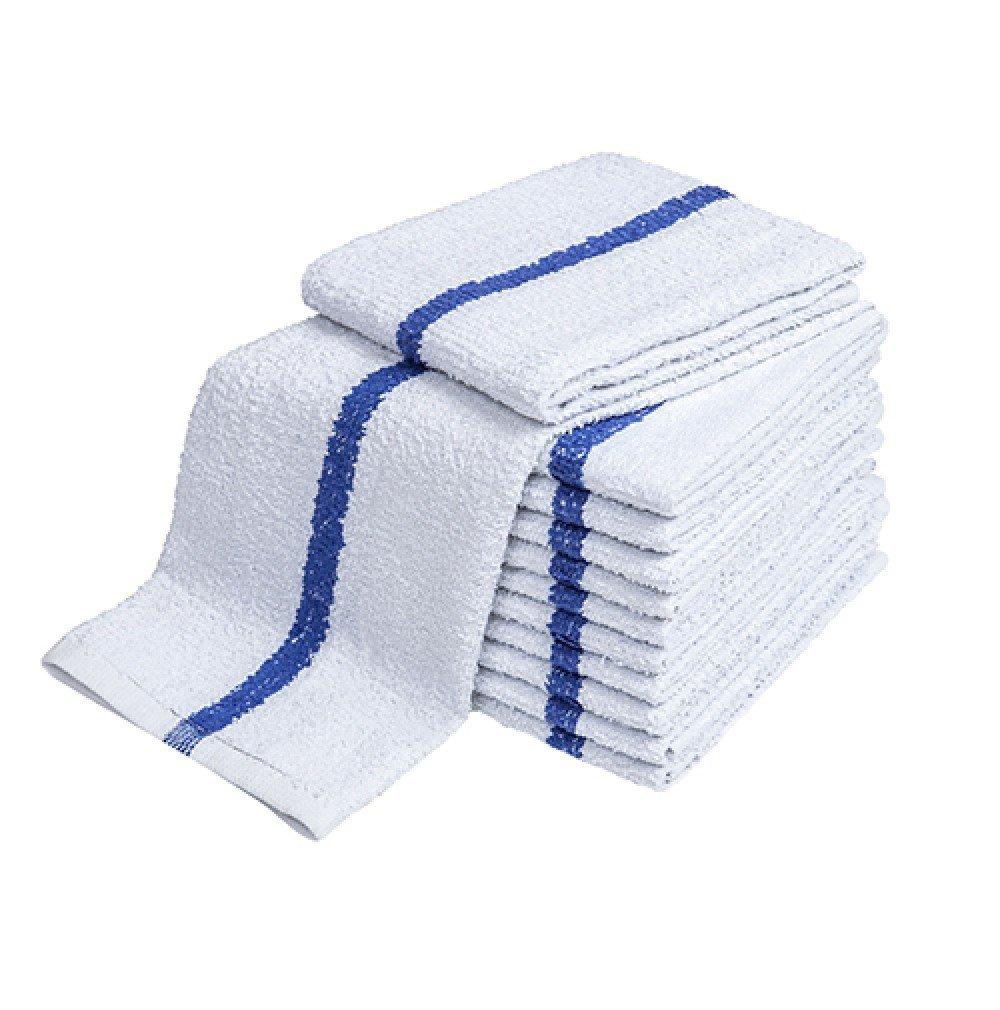 Atlas 24-Pack BLUE STRIPE Bar Mops 16x19 Full Terry Towels White 100% Cotton 28Oz Eco-Friendly