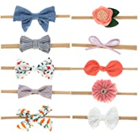 TopE 10 Pack Baby Girl Headbands and Bows, Newborn Infant Toddler Nylon Hairbands Hair Accessories