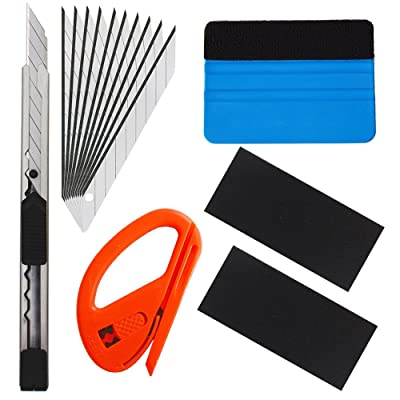 EEFUN 6 in 1 Installation Tool Kit for Car Window Wrapping Tint Vinyl with Utility Knife, Safety Snitty Cutter, PP Squeegee.: Automotive