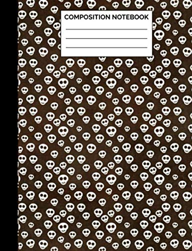 Composition Notebook: Small Skull Pattern Wide Ruled Lined Note Book - Gothic Halloween Themed Exercise Pad & Journal with Lines for Kids Teens, ... Lined Pages / 50 Sheets - Size 7.44 x 9.69