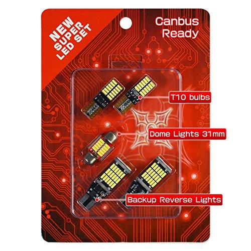 "HIKARI 1200lm Extremely Bright Error Free Led Bulb Set (921 912 Backup lights + T10 194 168 Interior Bulbs + 1.25"" 31MM Festoon Dome Map Door Courtesy License Plate Lights)"
