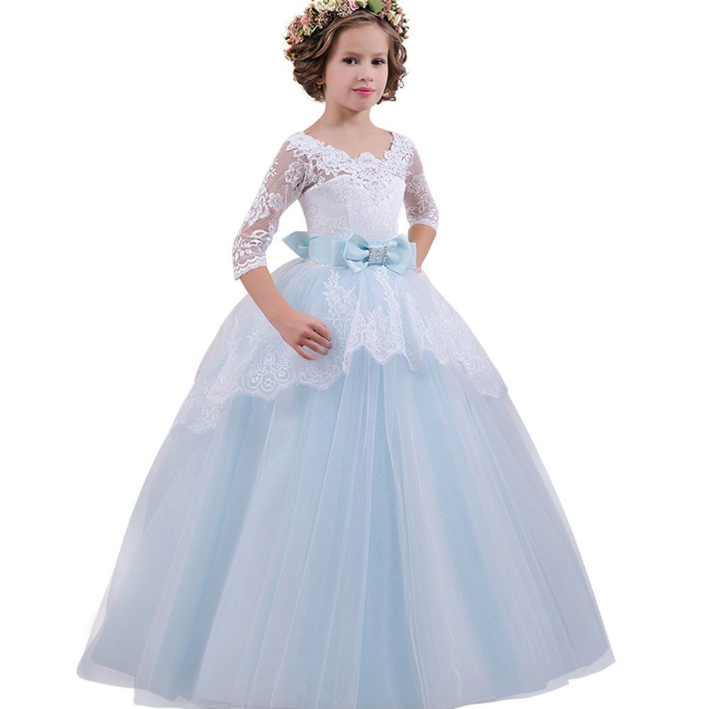 6eed55ffd Amazon.com: ❤ Mealeaf ❤ _ Girl Ball Gown Gauze Long Sleeve Lace Princess Flower  Girl Pageant Wedding Party Long Dresses 5-13Years: Clothing
