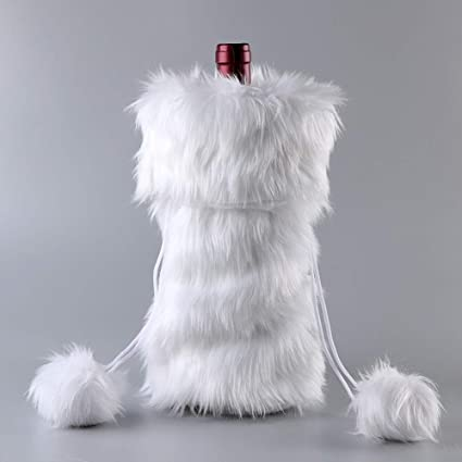 Image Unavailable. Image not available for. Color  Aytai Christmas Wine  Bottle Cover, Handmade Cozy White Faux Fur Wine Bag ... 073d0ad272