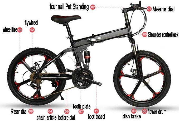 GHGJU Bicicleta para niños Bicicleta Plegable Bicicleta de Desplazamiento de aleación de Aluminio de 20 Pulgadas Adecuado para Caminos de montaña Y Lluvia y Nieve: Amazon.es: Deportes y aire libre