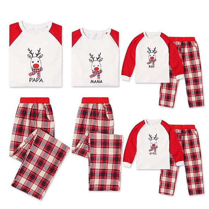 Juleya Conjunto de Pijamas de la Familia Feliz Navidad Conjunto de Ropa de Dormir Ropa de Dormir Conjunto de Rayas de Manga Larga Navidad Conjunto de ...