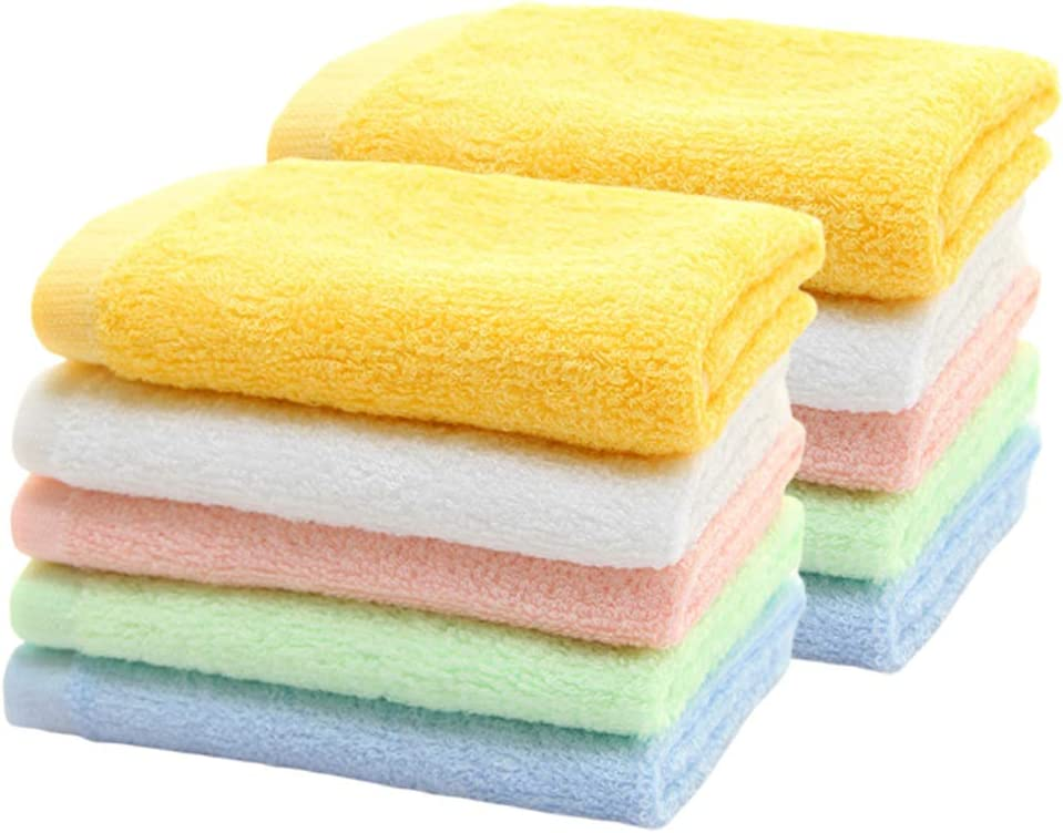 HOPAI Washcloths Bamboo Towel Set 10 Pack for Bathroom-Hotel-Spa-Kitchen Multi-Purpose Fingertip Towels & Face Cloths 10'' x 10'' (Multi - 1): Kitchen & Dining