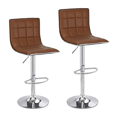 Cool Adeco Hydraulic Lift Cushioned Adjustable Swivel Counter Barstool With Square Pattern Coffee Leatherette With Chrome Pedestal Base Adjustable Seat Gmtry Best Dining Table And Chair Ideas Images Gmtryco