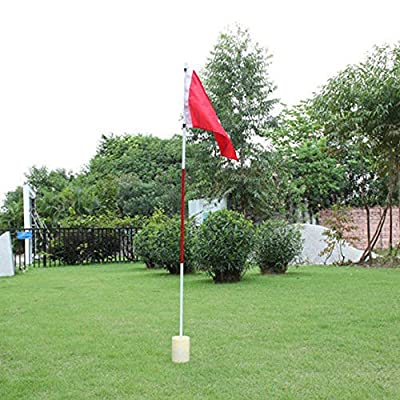 TTnight Backyard 3 Section Practice Golf Hole Pole Cup Flag Stick Putting Green Flagstick Golf taining Flagstick (Red)