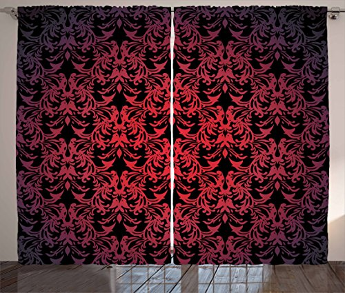 Ambesonne Red and Black Curtains by, Victorian Antique Old European Design Floral Swirls and Leaves Ombre Image, Living Room Bedroom Window Drapes 2 Panel Set, 108W X 63L Inches, (Victorian Design Window Panel)