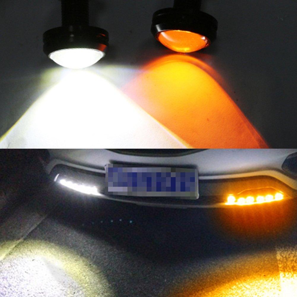 Taben 2PCS 9/W alta potenza 4040/ /12SMD Dual color White//Amber Switchback LED Eagle Eye Light 23/mm motore dell automobile DRL nebbia luce di marcia diurna moto coda backup Lights