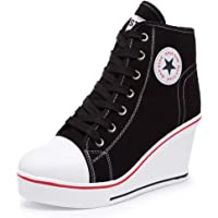 Hurriman Women's Wedge Sneakers High Heel Canvas Shoes Lace up High Top Side Zipper Fashion Sneakers