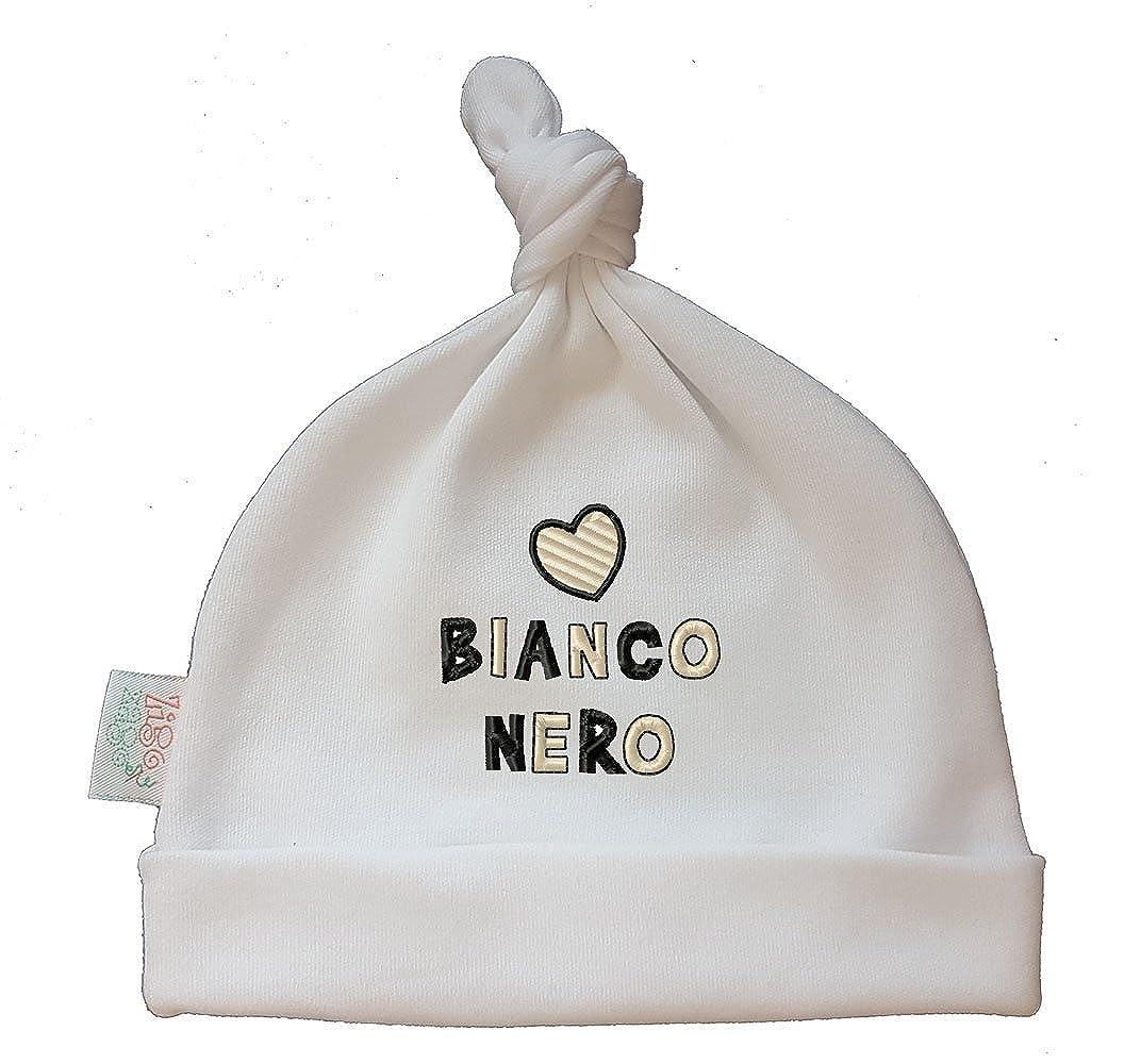 Zigozago - Cappellino cuffia con nodo CUORE BIANCONERO - Taglia 0-6 mesi