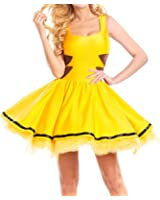 Que Sera Quesera Women's Pikachu Costume Skater Dress Outfit Halloween Cosplay Costume