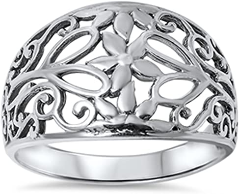 Filigree Cutout Flower Polished Ring New .925 Sterling Silver Band Sizes 5-10