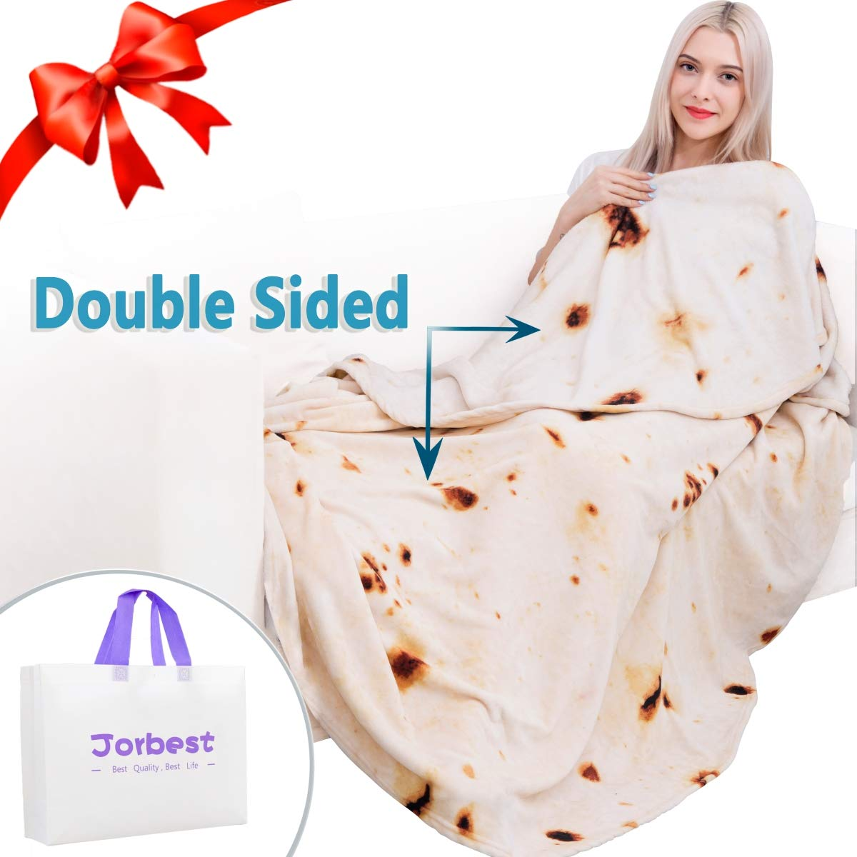 Jorbest Burritos Tortilla Blanket 2.0 Double Sided for Adult and Kids, Comfort Throw Blanket, Novelty Round Food Blanket for Everyone - Diameter 71 inches, Yellow Blanket-a