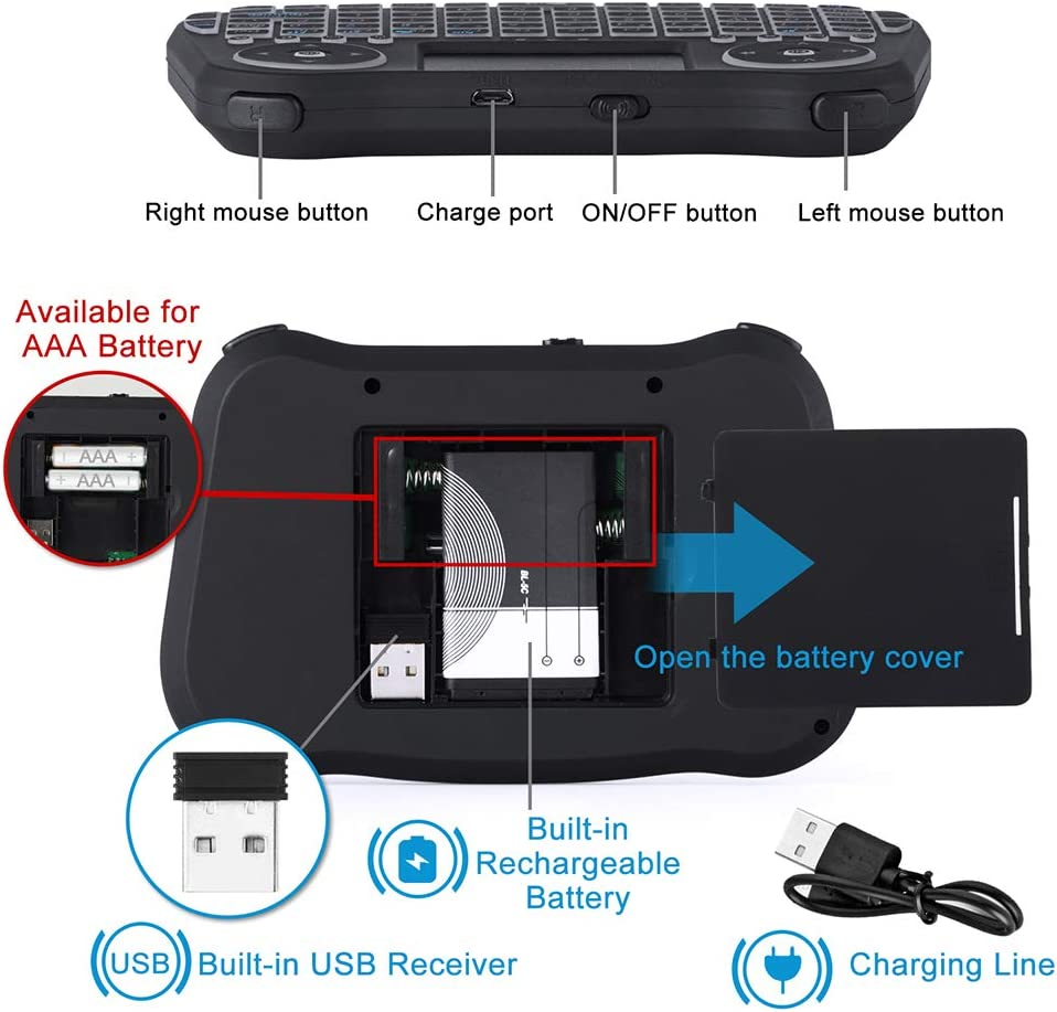 Mini Wireless Keyboard with Touchpad Mouse Combo 7 RGB Backlit ...