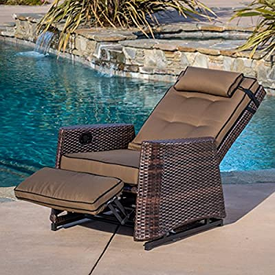 Westwood Outdoor Glider Recliner Chair - This heavy-duty outdoor Recliner is made with high-quality Brown PE wicker and the relaxing Rocking mechanism allows the Chair to rock in upright or reclined position Manufactured in China Assembly required but completely worth it - patio-furniture, patio-chairs, patio - 61kl9uJDY6L. SS400  -