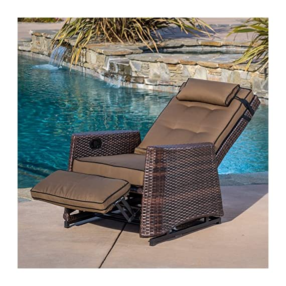 Westwood Outdoor Glider Recliner Chair - Comfortably relax outdoors Sturdy aluminum frame with woven PE Wicker gives you quality and stability Neutral brown colors won't distract but will add to the beauty of the outdoors - patio-furniture, patio-chairs, patio - 61kl9uJDY6L. SS570  -
