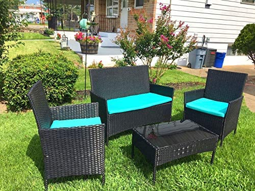 Viewee 4 Pieces Outdoor Patio Furniture Sets Rattan Wicker Patio Set with 2 Cushioned Chairs (Blue Cushion) & A Double Sofa & 1 Glass Top Patio Table