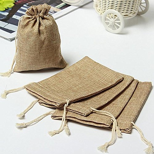 Danyoun 10pcs Vintage Burlap Jute Drawstrings Sacks, Linen Jute Sacks Weddings Party Favor Drawstrings Gift Bags, Natural Linen Burlap Jute Drawstring Pouches Accessory Storage
