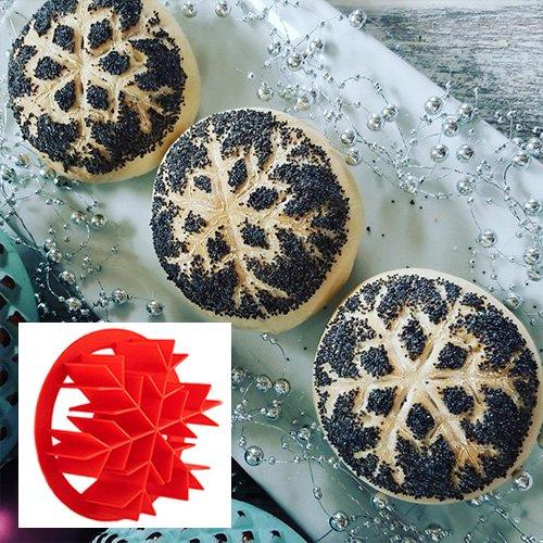 Snowflake Bread Roll Stamp 3 diameter Bread Shaper for Christmas Bread Rolls Concha Bread Stamp