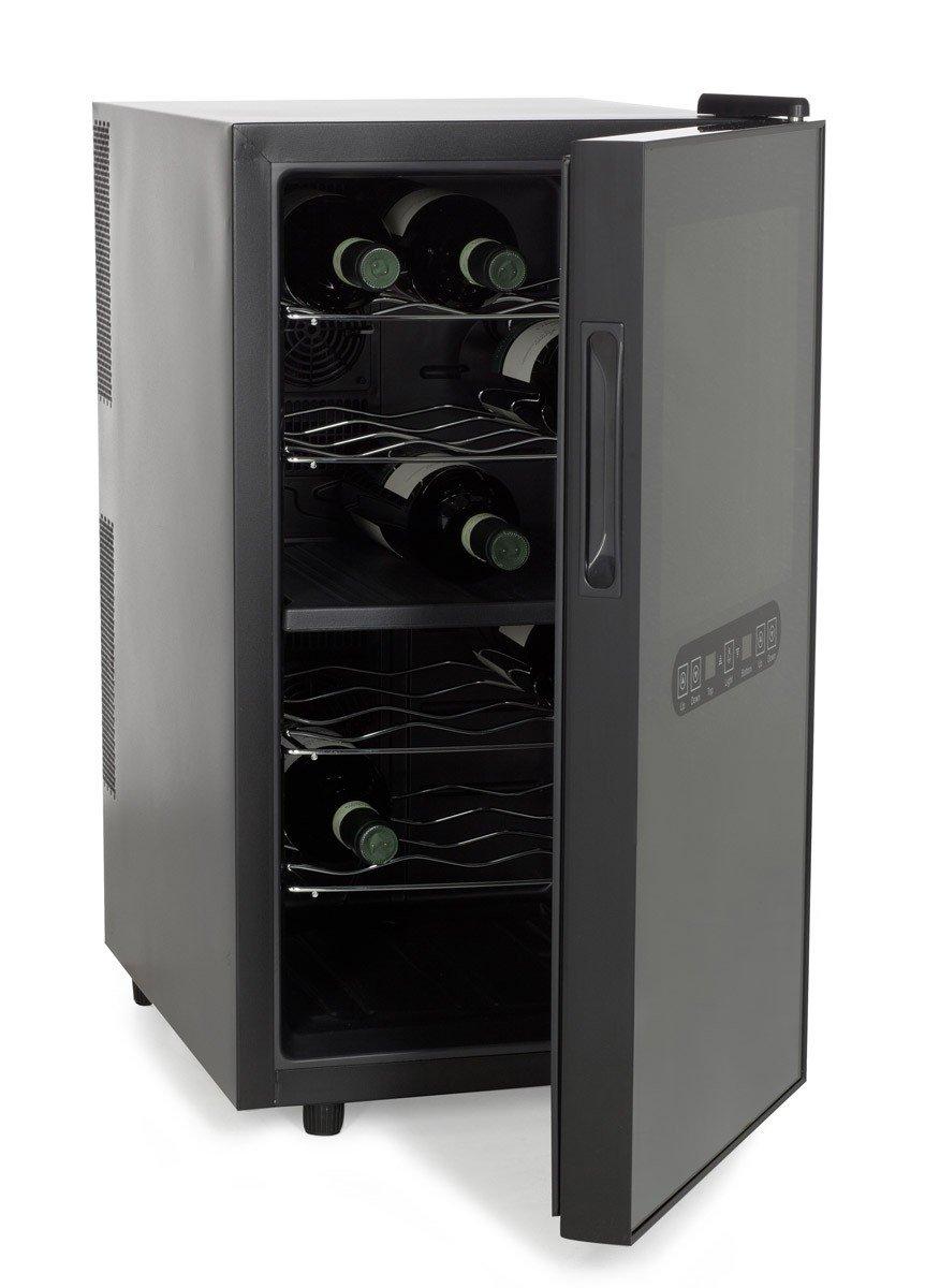 Amstyle Design Weinkühlschrank 2 Temperaturzonen Klima-Zonen Schwarz 48 Liter 18 Flachen Getränkekühlschrank 8-18°C Weinkühler Weinklimaschrank Glastür Freistehend Rot & Weißwein Höhe 64cm (EEK: C)