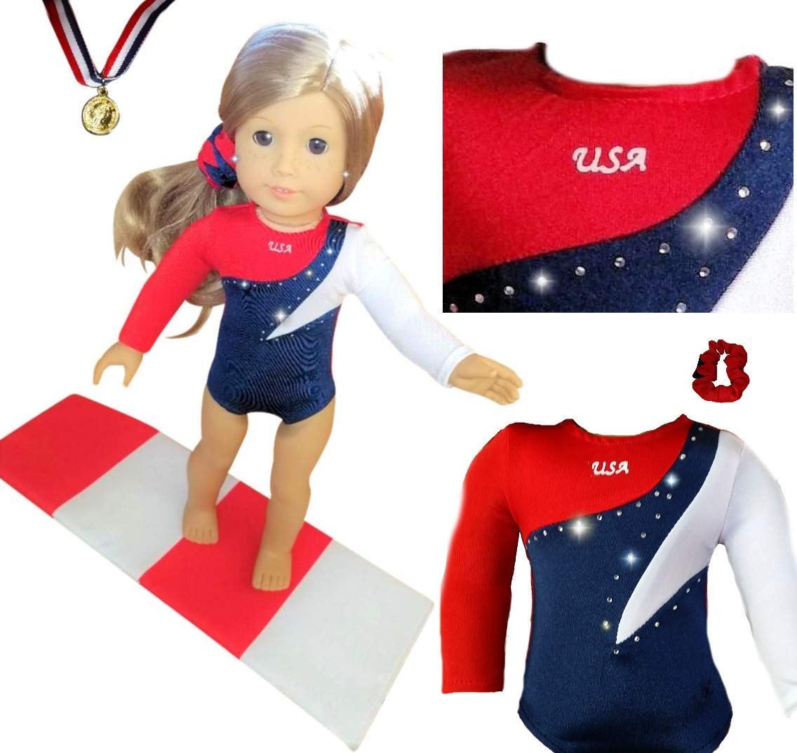 New QUALITY USA OLYMPIC GYMNASTICS DANCE LEOTARD with Rhinestones Set - Fits American Girl 18 inch Doll Clothes Lot Tammy Lee Designs