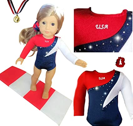 1f8545008485 Amazon.com  Doll Connections USA Gymnastics Outfit Compatible with ...
