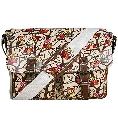 T & S - Bolso estilo cartera para mujer Multicolor multicolor Owl Beige