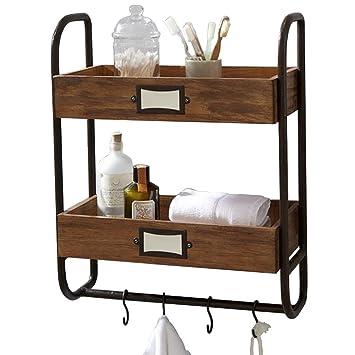 Estantería de pared Americana industrial retro baño toalla de baño artículos de tocador estante de almacenamiento de madera maciza de hierro forjado ...