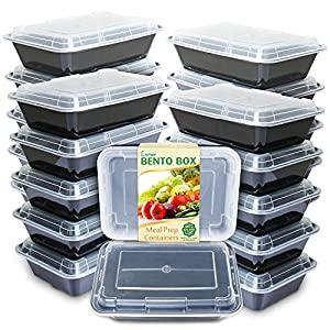 Enther Meal Prep Containers [20 Pack] Single 1 Compartment with Lids, Food Storage Bento Box   BPA Free   Stackable   Reusable Lunch Boxes, Microwave/Dishwasher/Freezer Safe,Portion Control (28 oz) 18