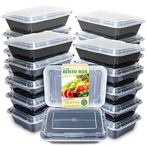 Enther Meal Prep Containers [20 Pack] Single 1 Compartment with Lids, Food Storage Bento Box | BPA Free | Stackable | Reusable Lunch Boxes, Microwave/Dishwasher/Freezer Safe,Portion Control (28 oz) from Enther