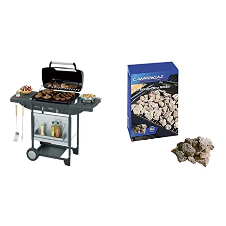 Barbacoa a gas Campingaz para piedra lava Texas Re.volution S, con 2 quemadores de gas compactos, quemador lateral, 8,2 kW, mesas laterales y carro de ...