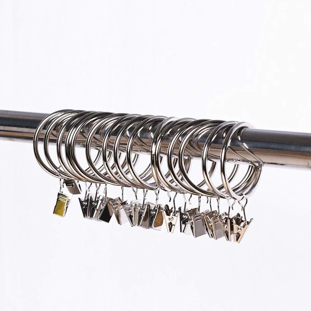 leoyoubei Solid Metal Drapery Curtain Rings with Clips ,Decorative Drapery Curtain Clip Rings, Premium Iron Metal Material 30-pieces Interior Diameter (1