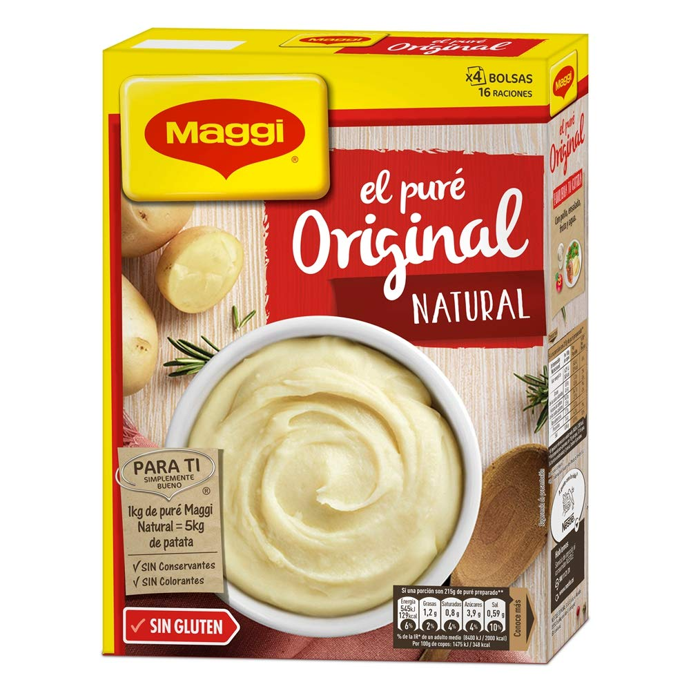 Maggi Puré de Patatas Natural - Puré Sin Gluten - 16 raciones de puré (4 Bolsas) - 460g