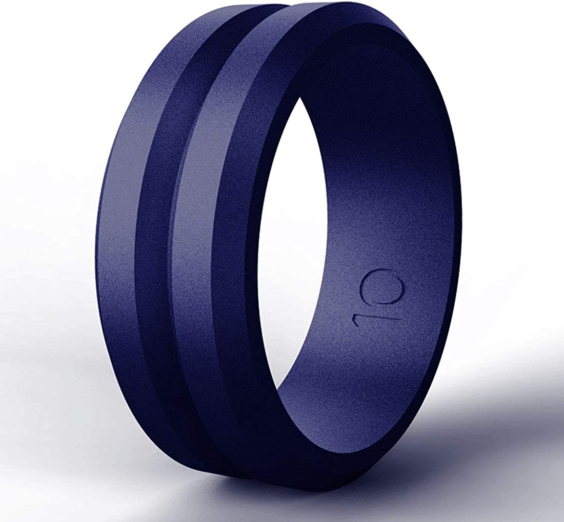 7PCS Mulit-Color, 11.5-12 21.4mm//0.84inch Silicone Wedding Rings Band for Men 12 Pack Size 10 11 12 13 14 Mens Step Edge Sleek Design Bark Texture Rubber Wedding Bands Rings 8mm Wide for Workout