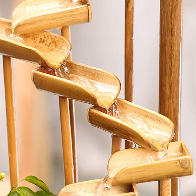 ZOUQILAI Fuente para Interiores o Exteriores, Natural, bambú Resistente a la división, humidificador de Rueda de Viento | Uso del Patio o jardín (Color ...