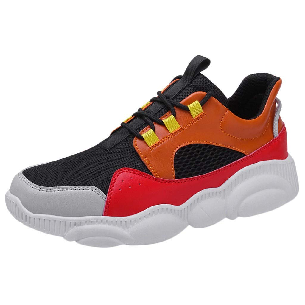 Driuankeji Fashion Sneakers for Men's Wild Mesh Breathable Sneaker Casual Lightweight Running Shoes Orange