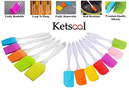 Ketsaal Silicone Spatula and Pastry Brush Set (Big) - for Cake Mixing, Decorating, Cooking, Baking, Glazing, Barbeque Baking Tools & Accessories at amazon