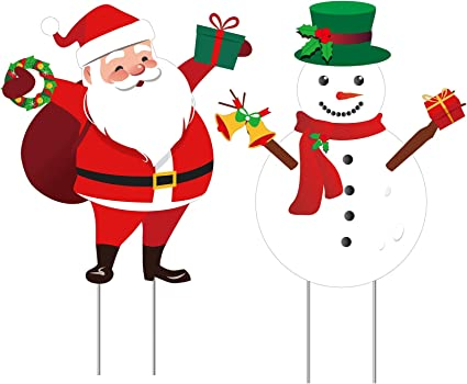 Elcoho 2 Pieces Christmas Yard Signs Lawn Decorations Santa Snowman Yard Signs Holiday Decor Signs With Stake For Christmas Decorations Garden Outdoor