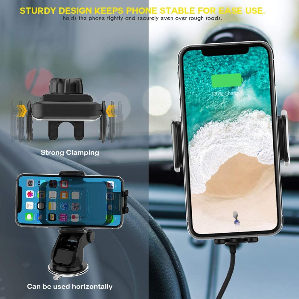 ZeeHoo Wireless Car Charger,10W Qi Fast Charging Auto-Clamping Car Mount,Windshield Dash Air Vent Phone Holder Compatible iPhone 11/11 Pro Max/Xs MAX/XS/X/8/,Samsung S10/S9/S8 (Dark Silver): Electronics