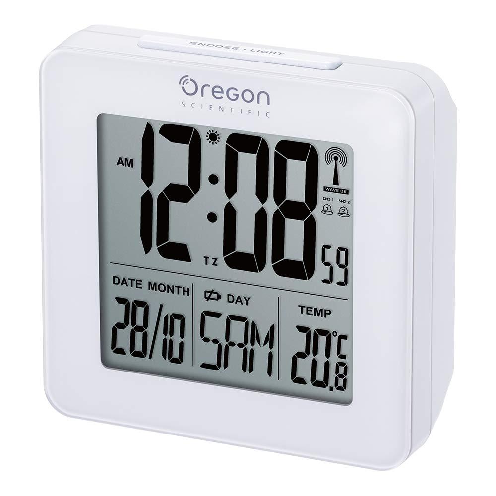 Oregon Scientific RM511, Reloj despertador digital con repetición snooze, fecha y temperatura interior, blanco