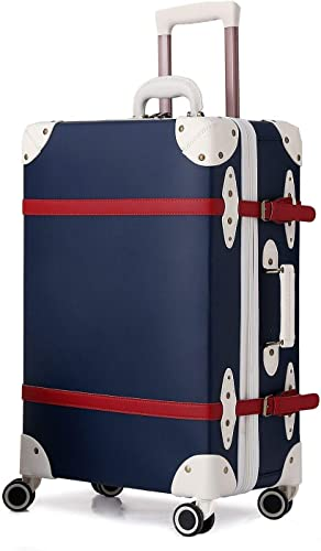 urecity Retro Hardside Luggage with Wheels Spinner Vintage Suitcase for Women and Men blue zipper, 26