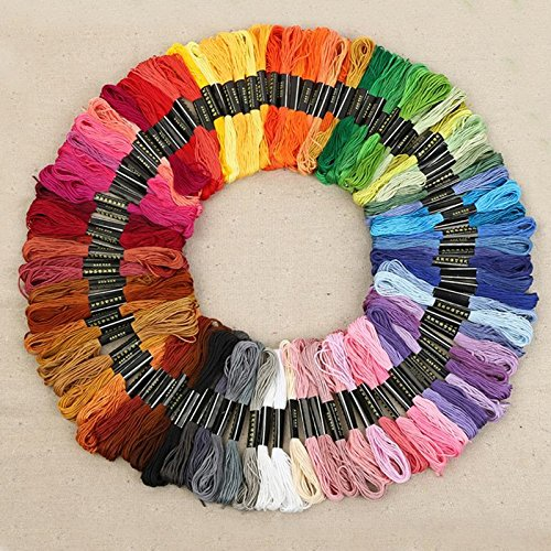 Wanky Embroidery Floss 100 Skeins(26ft Each Thread Rainbow Color Cross Stitch Crafts Floss New