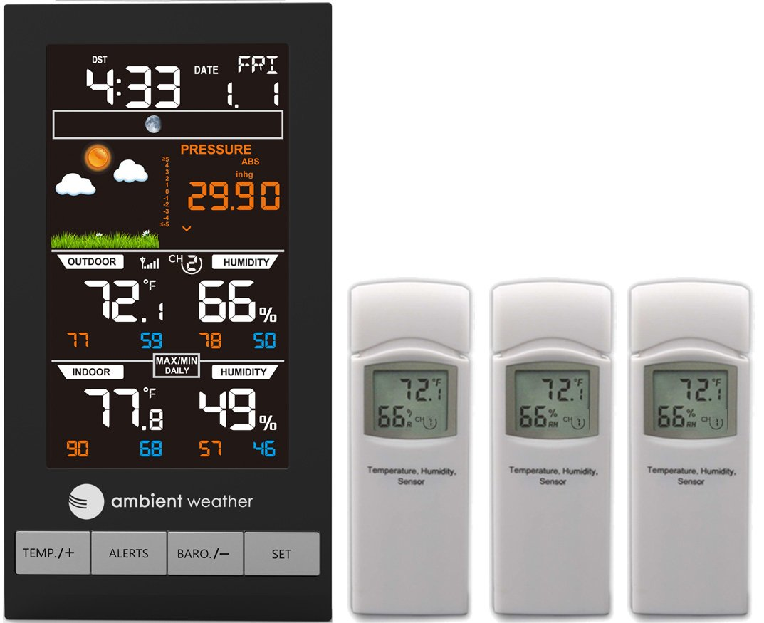 Ambient Weather WS-2801-X3 Advanced Wireless Color Forecast Station with Temperature, Humidity, Barometer and Three Remote Sensors
