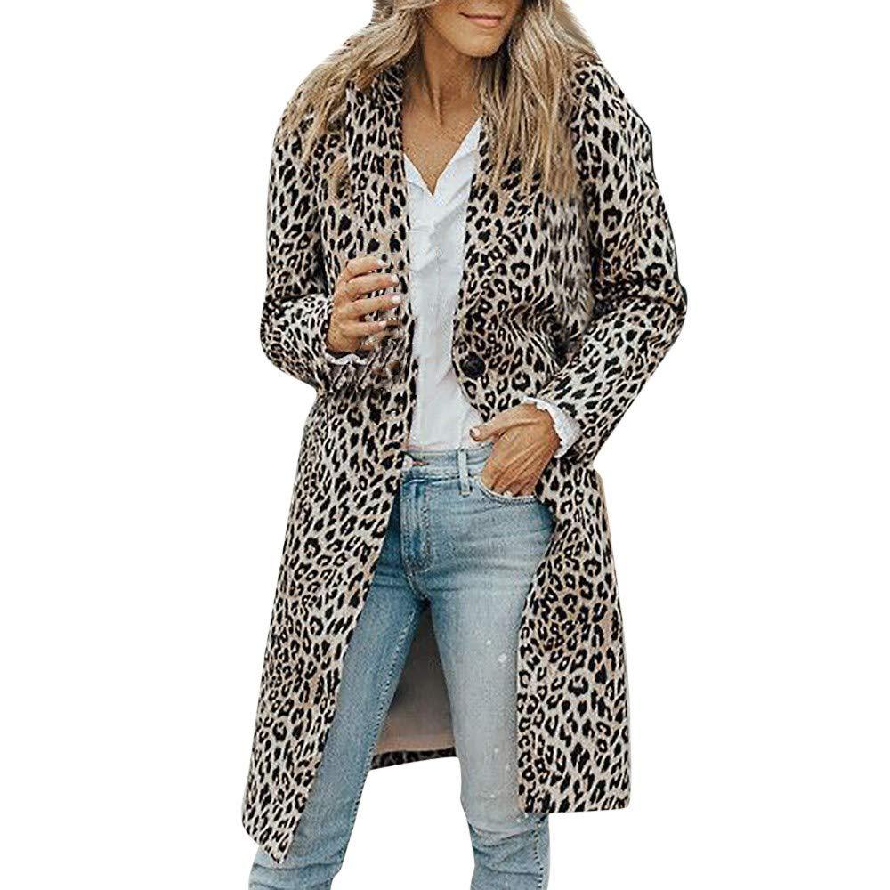 JiaMeng Cappotto Elegante da Donna, Cappotto da Donna a Maniche Lunghe Lungo Leopardo S/M/L/XL/XL