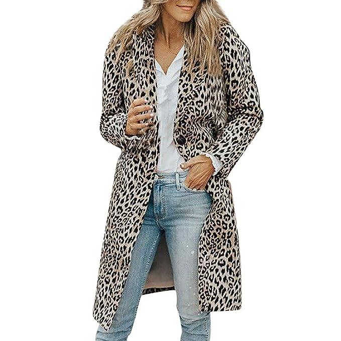 CICIYONER Mujer Abrigo Estampado De Leopardo Chaqueta de ...